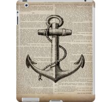 rustic nautical  captain newspaper print vintage anchor  iPad Case/Skin