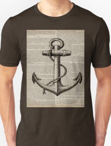 rustic nautical  captain newspaper print vintage anchor  Unisex T-Shirt