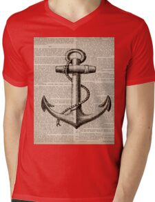 rustic nautical  captain newspaper print vintage anchor  Mens V-Neck T-Shirt