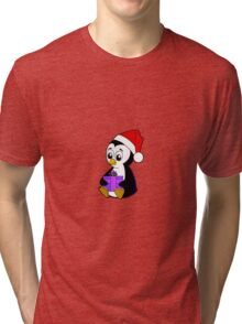 Baby Penguin with a Christmas Gift Tri-blend T-Shirt