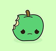 Cute sad apple by peppermintpopuk