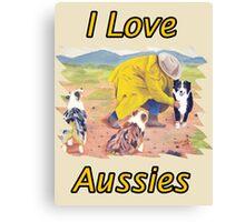After the Rain Australian Shepherd Painting Canvas Print