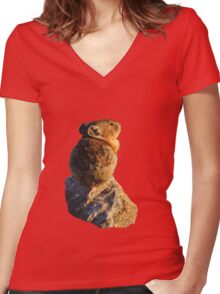 Sunset Pika Women's Fitted V-Neck T-Shirt