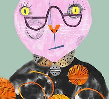 Pink Cat with Wool Overload by Julia Laing