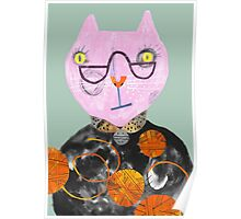 Pink Cat with Wool Overload Poster