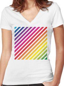 Rainbow stripey thing Women's Fitted V-Neck T-Shirt