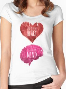Open Heart, Open Mind Women's Fitted Scoop T-Shirt