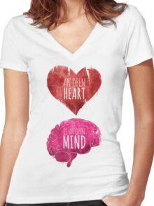 Open Heart, Open Mind Women's Fitted V-Neck T-Shirt