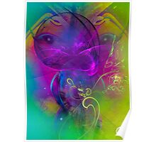 Kitten  - colorful digital abstract art  Poster