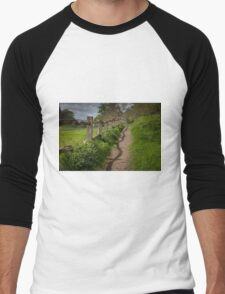 Crooked fence with shadow Men's Baseball ¾ T-Shirt