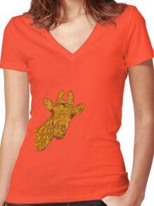 sd Giraffe 1L Women's Fitted V-Neck T-Shirt