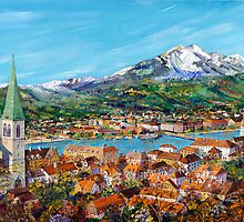 Lucern-switzerland with mont pilatus on the background by JorgeCaputi