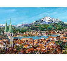 Lucern-switzerland with mont pilatus on the background Photographic Print