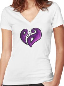Strength / قوة (purple) Women's Fitted V-Neck T-Shirt