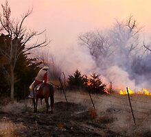 Rancher Watching a Controlled Prairie Fire by Catherine Sherman