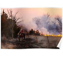 Rancher Watching a Controlled Prairie Fire Poster