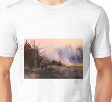 Rancher Watching a Controlled Prairie Fire Unisex T-Shirt