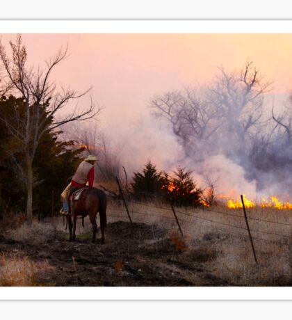 Rancher Watching a Controlled Prairie Fire Sticker