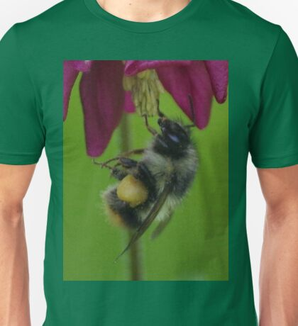 Bumble Bee With Massive Pollen Sacks On A Columbine Unisex T-Shirt