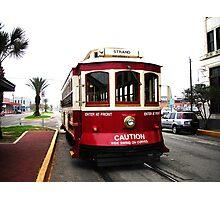 Red Trolley, Galveston Island Photographic Print