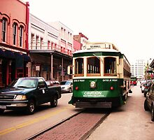 Green Galveston, Texas Trolley Car by Charles Buchanan