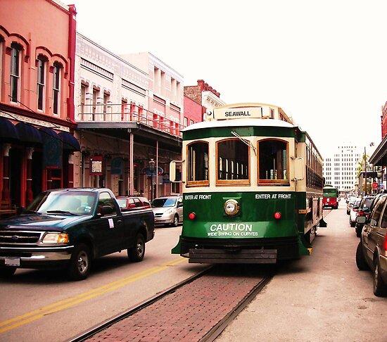 Green Galveston, Texas Trolley Car by Charles Buchanan