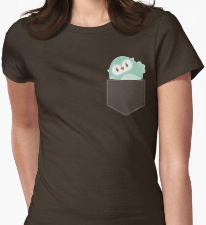 POCKET PALS :: owl - foam Womens Fitted T-Shirt