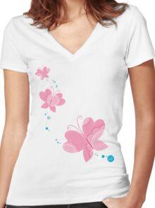 FLUTTERBY BUTTERFLY :: pink + aqua + foam Women's Fitted V-Neck T-Shirt