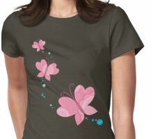 FLUTTERBY BUTTERFLY :: pink + aqua + foam Womens Fitted T-Shirt