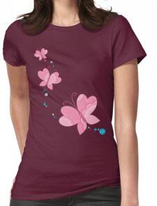 FLUTTERBY BUTTERFLY :: pink + aqua + foam Womens Fitted T-Shirt