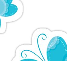 FLUTTERBY BUTTERFLY :: aqua + foam + lime Sticker
