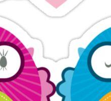 OWLS IN LOVE :: bright Sticker