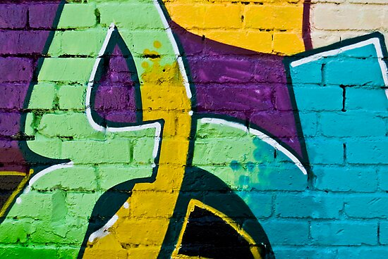 Abstract graffiti detail on the brick wall by yurix