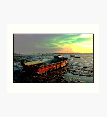 Lonely Mud Boats Art Print