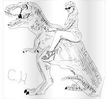 Pin-up vs dinosaur  Poster
