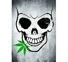 Skull with Weed -  Cool Skull with Pot Photographic Print