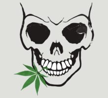 Skull with Weed -  Cool Skull with Pot by Denis Marsili - DDTK