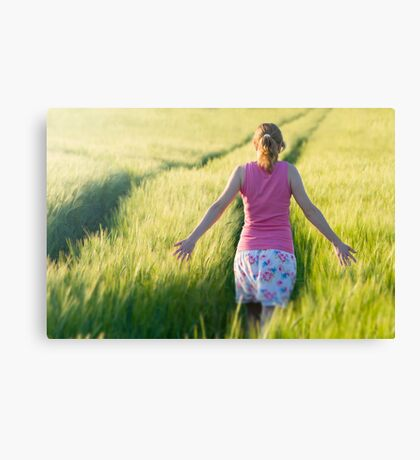 Woman in Barley Field Canvas Print