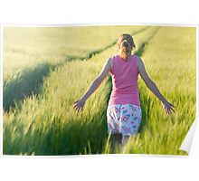 Woman in Barley Field Poster