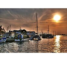 Fiery Sky Over the Lagoon - Grado - Italy Photographic Print
