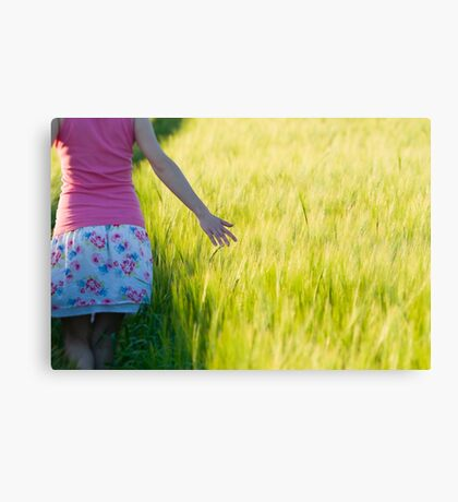 Woman in Barley Field Closeup Canvas Print