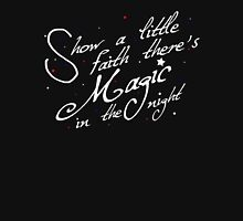 Magic in the night - white text Womens Fitted T-Shirt