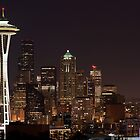 The Space Needle, Downtown Seattle at night by Barb White