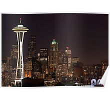 The Space Needle, Downtown Seattle at night Poster
