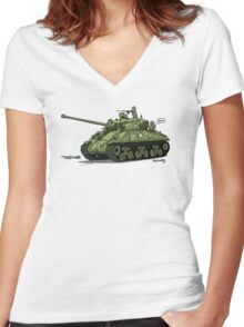 The Dogs of War: Sherman Tank Women's Fitted V-Neck T-Shirt
