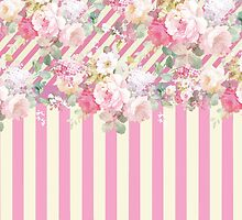 Vintage pink baby yellow stripes floral pattern  by Maria Fernandes