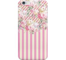 Vintage pink baby yellow stripes floral pattern  iPhone Case/Skin