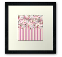 Vintage pink baby yellow stripes floral pattern  Framed Print