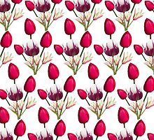 Colorful pink purple daffodils floral pattern  by Maria Fernandes