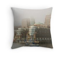 Rowes Wharf In The Mist Throw Pillow